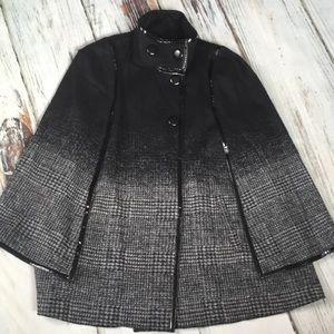 Via Spiga Cloak Cape Jacket Gray Black Fleece